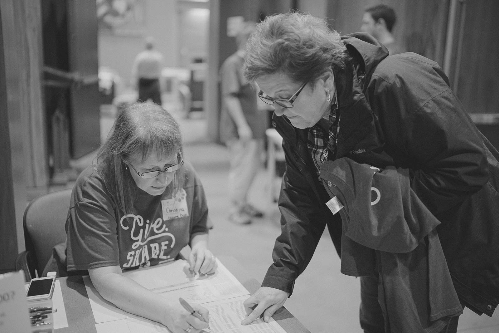 Volunteers checking in at the Hope Center in Seattle.